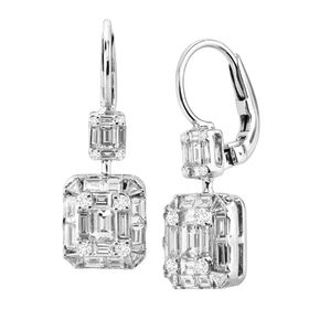 1 5/8 ct Rectangle Diamond Drop Earrings