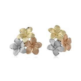 Tri-Color Caribbean Flower Stud Earrings