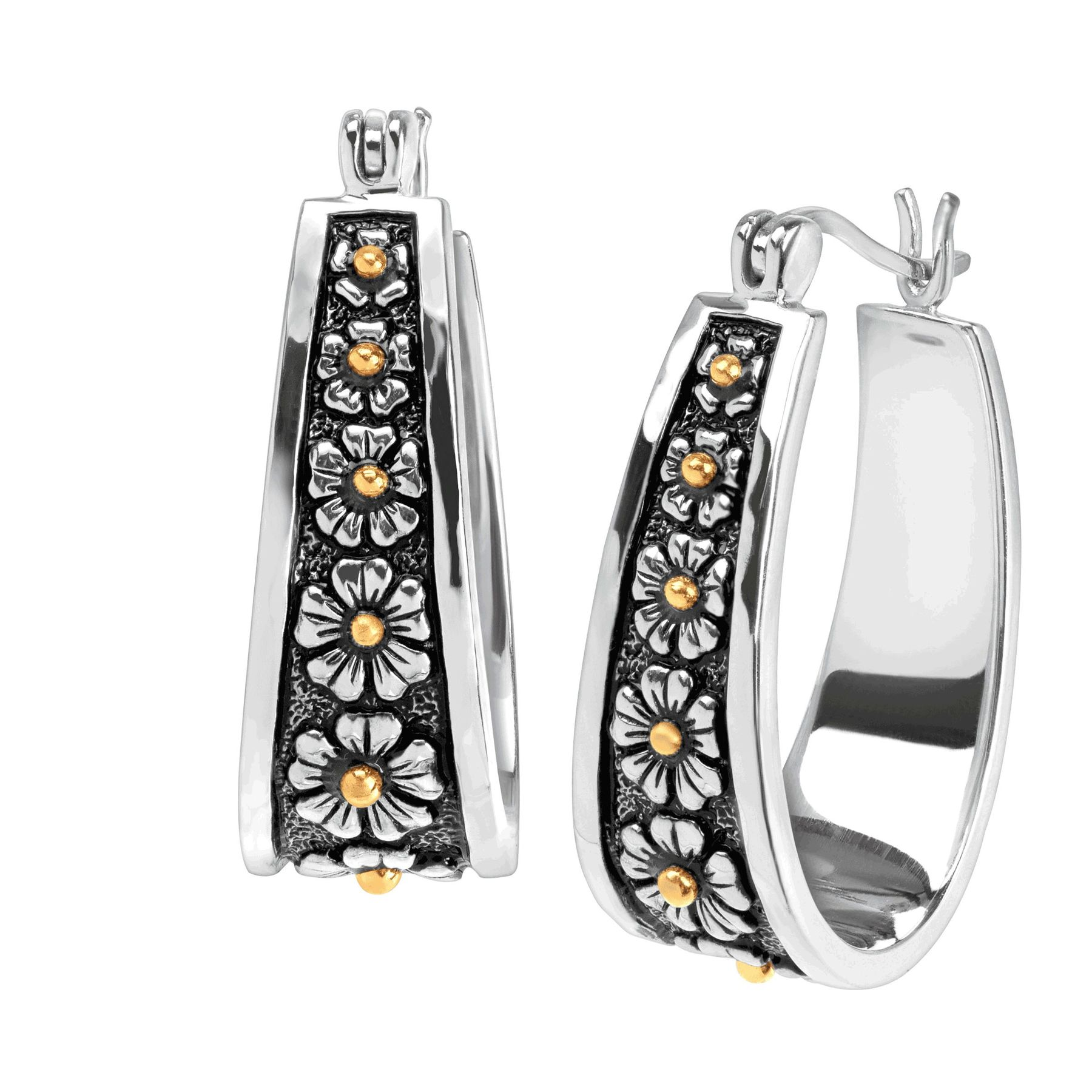 Silver and Gold Plated Daisy Hoop Earrings bMqGTHIn