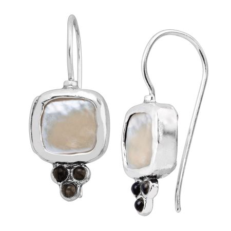 a8bc709e93476 Silpada 'Composition' Natural Mother-of-Pearl & Black Opal Drop Earrings in  Sterling Silver