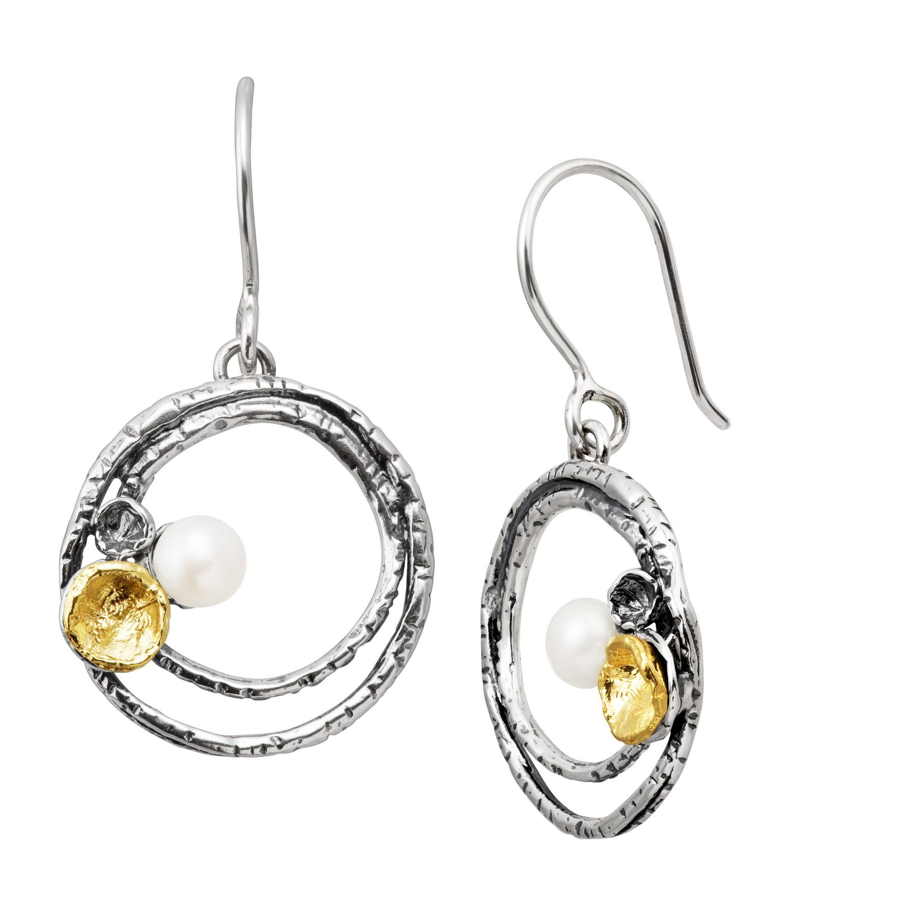Sterling Silver Dish Earrings with Pearl