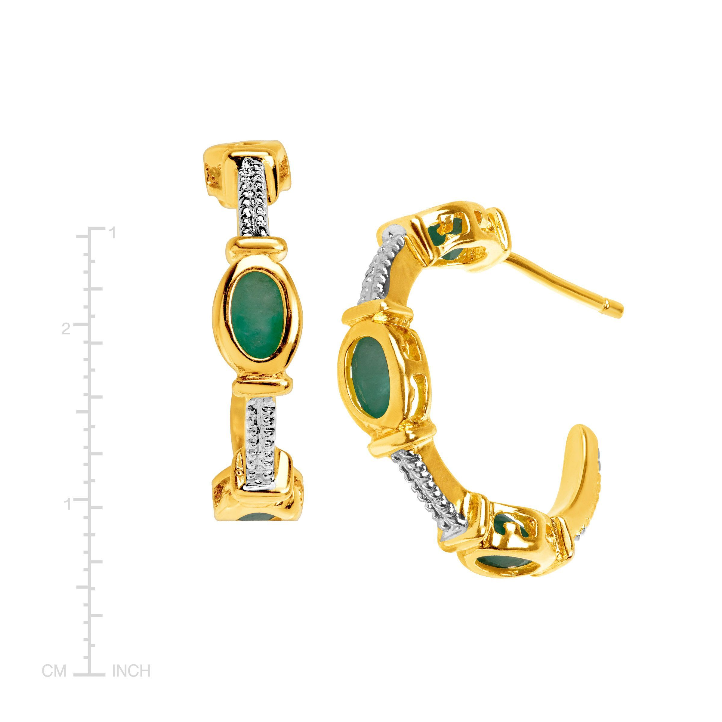 3//4 ct Natural Emerald Half Hoop Earrings in 18K Gold-Plated Sterling Silver