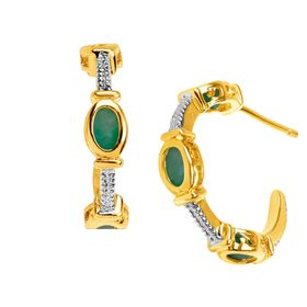 3/4 ct Emerald Half Hoop Earrings