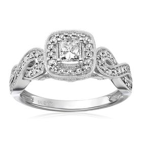 3/4 ct Diamond Princess Infinity Engagement Ring