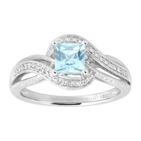 Aquamarine & 1/4 ct Diamond Ring