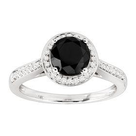 1 5/8 ct Black & White Diamond Halo Ring