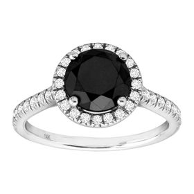 2 3/4 ct Black & White Diamond Engagement Ring