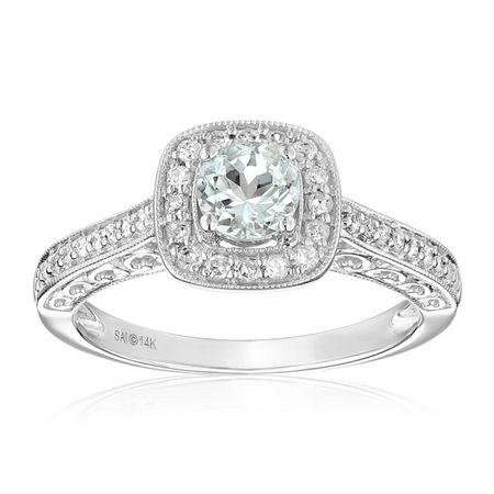 Aquamarine & 1/4 ct Diamond Halo Ring