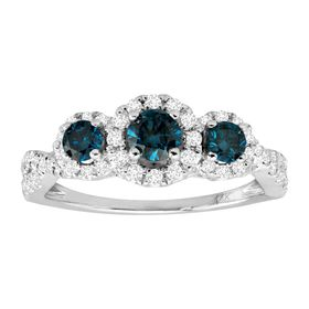 1 ct Blue & White Diamond Three-Stone Ring