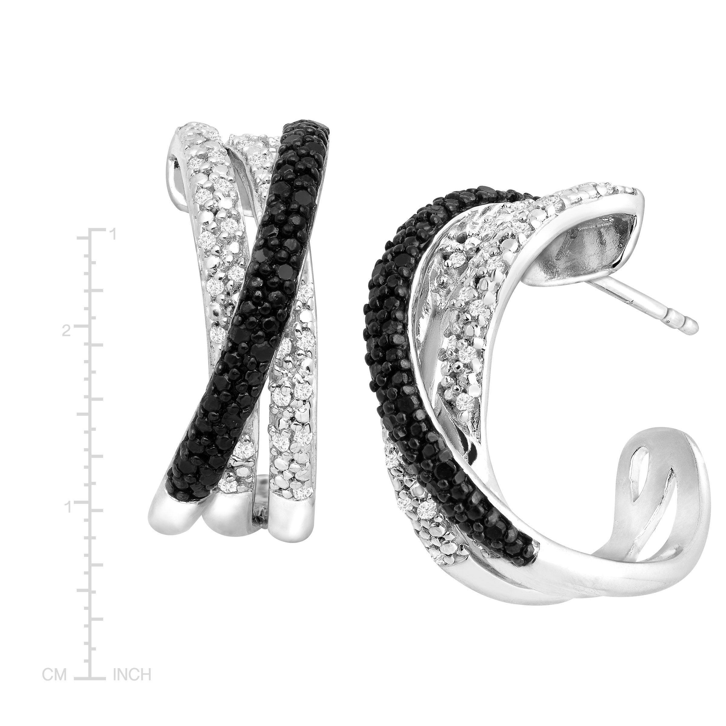 Sterling Silver Black Diamond Hoop Earrings 1//5 ct
