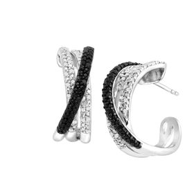 1/2 ct Black and White Diamond Half Hoop Earrings
