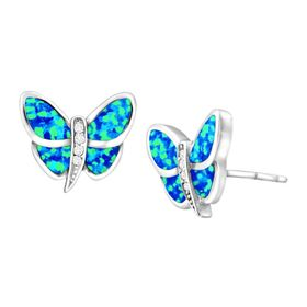 Blue Opal & White Sapphire Butterfly Stud Earrings