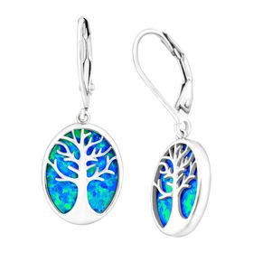 Tree of Love Blue Opal Cutout Earrings