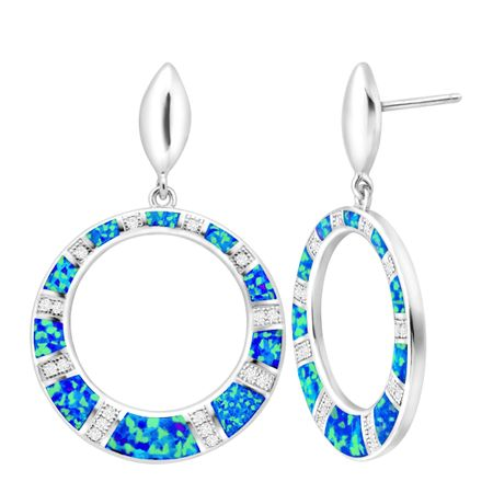 Blue Opal Open Circle Earrings with Cubic Zirconia