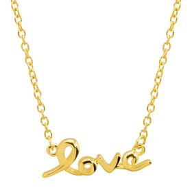 'Love' Script Necklace, Yellow