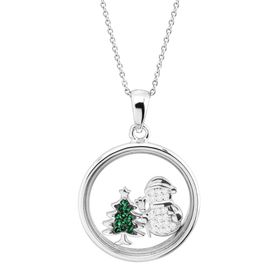 Snowman & Christmas Tree Holiday Shaker Pendant with Crystals