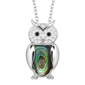 Abalone Owl Pendant with Cubic Zirconia