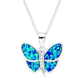 Blue Opal & White Sapphire Butterfly Pendant