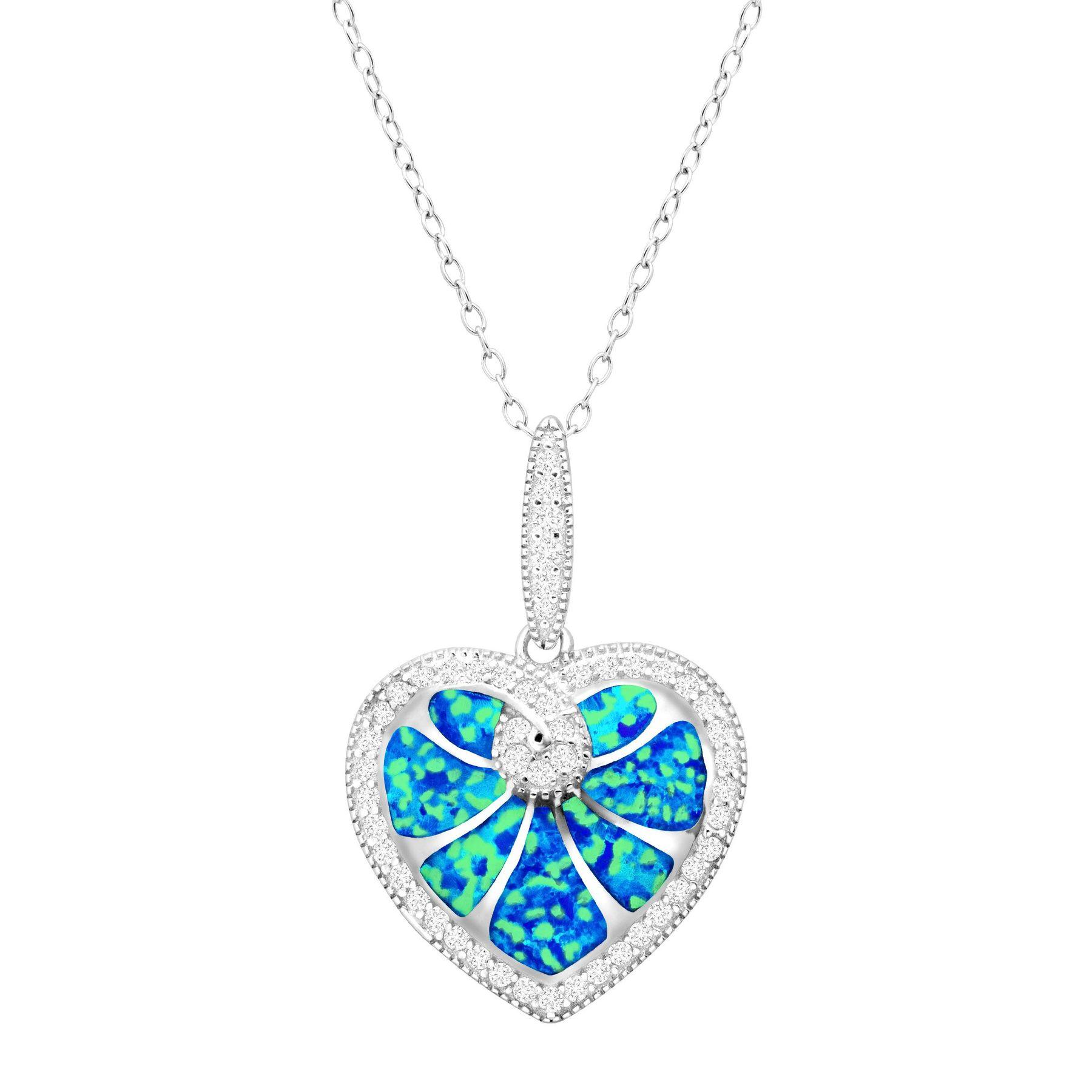 Created blue opal heart pendant with cubic zirconia in sterling blue opal heart pendant with cubic zirconia aloadofball Choice Image