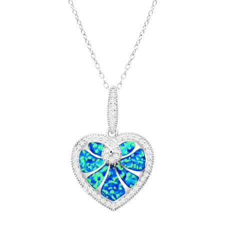 Blue Opal Heart Pendant with Cubic Zirconia
