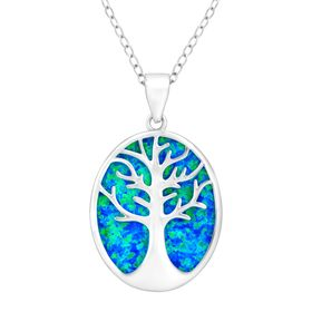Tree of Love Blue Opal Cutout Pendant