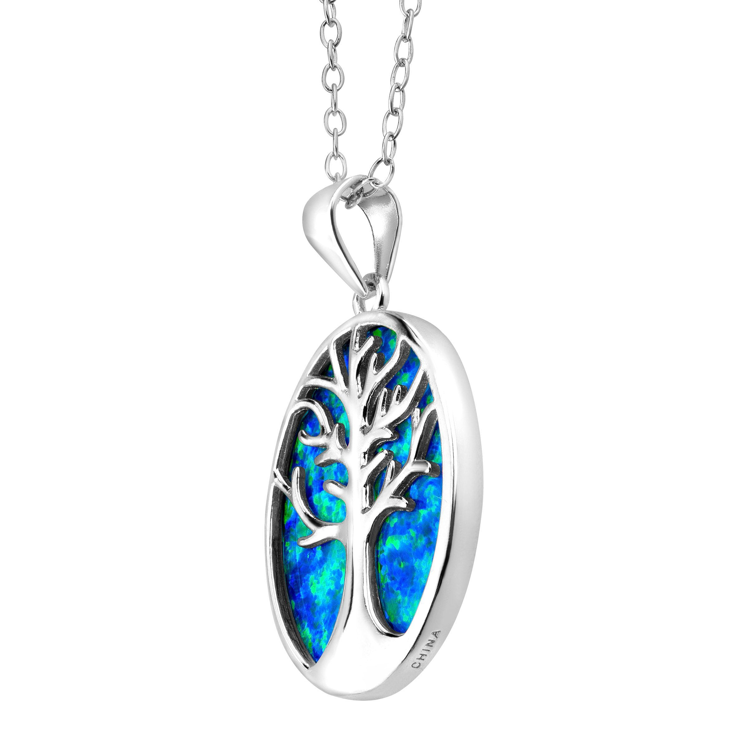Tree Of Love Created Blue Opal Cutout Pendant In Sterling