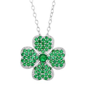 Shamrock Pendant with Green Cubic Zirconia