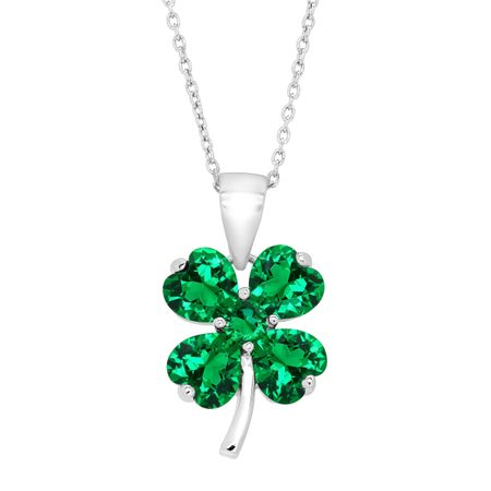 Shamrock Clover Pendant with Green Cubic Zirconia