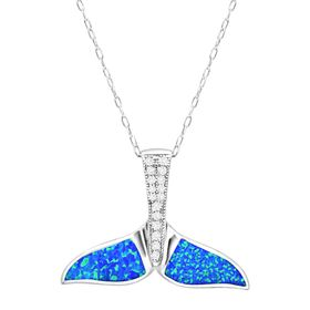 Blue Opal Whale Tail Pendant with Cubic Zirconia