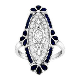 2 1/8 ct Spinel & Cubic Zirconia Art Deco Ring