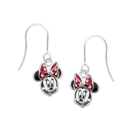 2246da641 Disney's Minnie Mouse Drop Earrings in Sterling Silver-Plated Brass ...