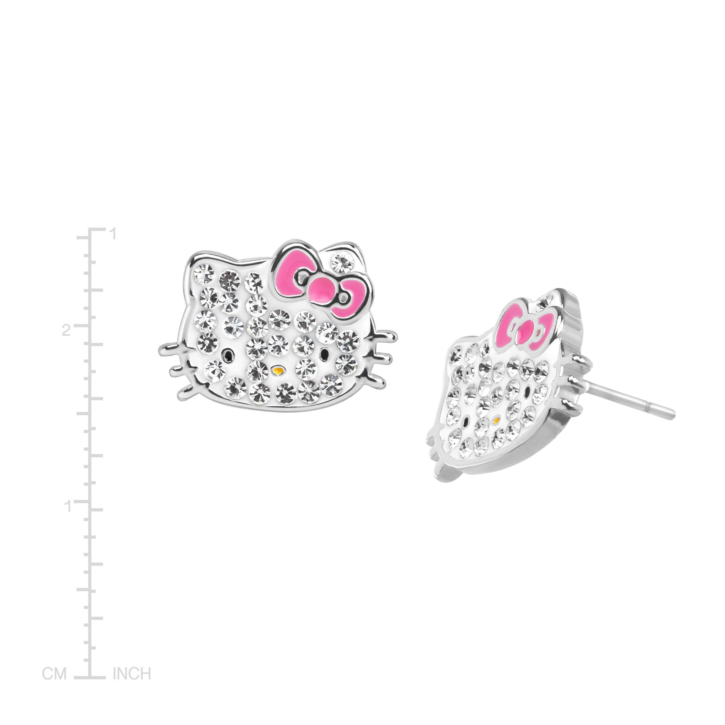 5d98d0d88 Hello Kitty Stud Earrings with Crystals in Sterling Silver-Plated Brass