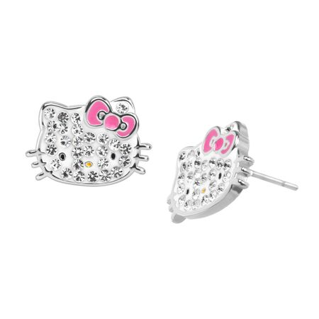 Hello Kitty Stud Earrings With Crystals