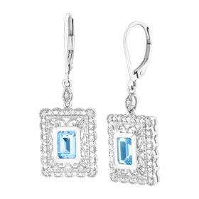 2 1/3 ct Swiss Blue Topaz Drop Earrings with Diamonds