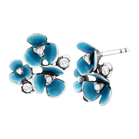 Art Nouveau Flower Stud Earrings with Swarovski Crystals