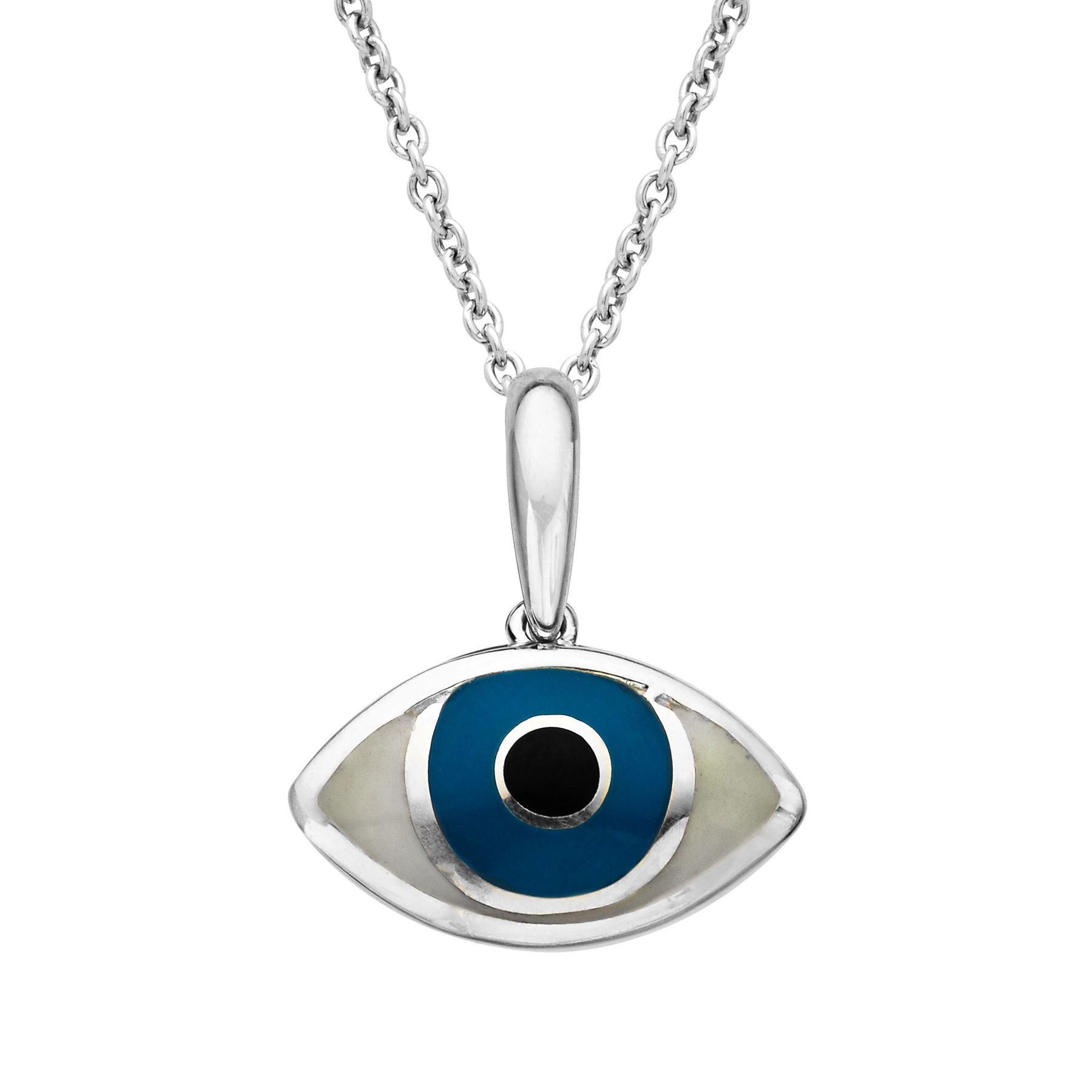 product in gold swarovski blue evil pendant original on setting detailed eye necklace