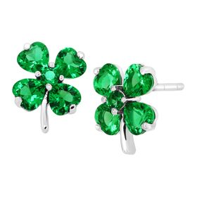 Shamrock Clover Stud Earrings with Green Cubic Zirconia