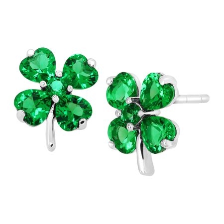 b021495c2 Shamrock Clover Stud Earrings with Green Cubic Zirconia in Sterling ...