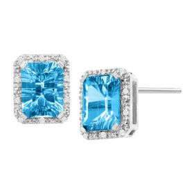 4 3/4 Swiss Blue Topaz & 1/10 ct Diamond Stud Earrings
