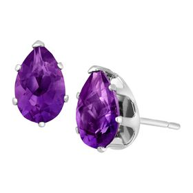 1 1/3 ct Amethyst Pear-Cut Stud Earrings