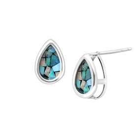 Mosaic Blue Opal Teardrop Stud Earrings