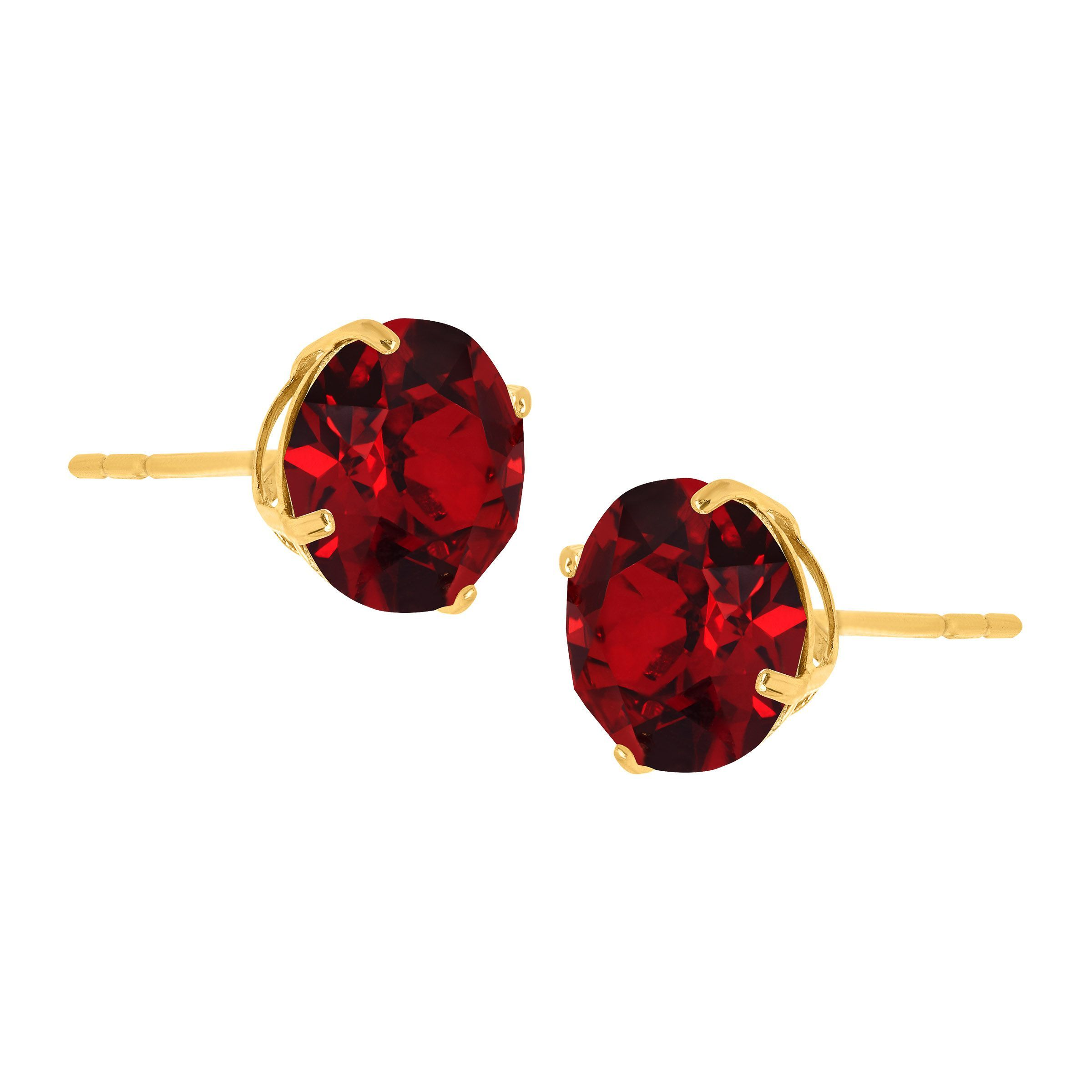 Crystaluxe 7 Mm Stud Earrings With Red Swarovski Crystals In 10k Gold