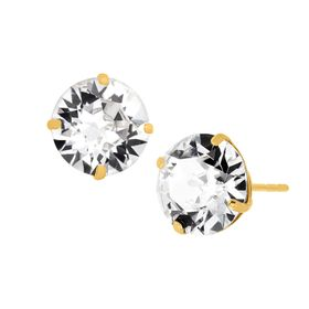 8 mm Stud Earrings with Swarovski Crystals, Yellow