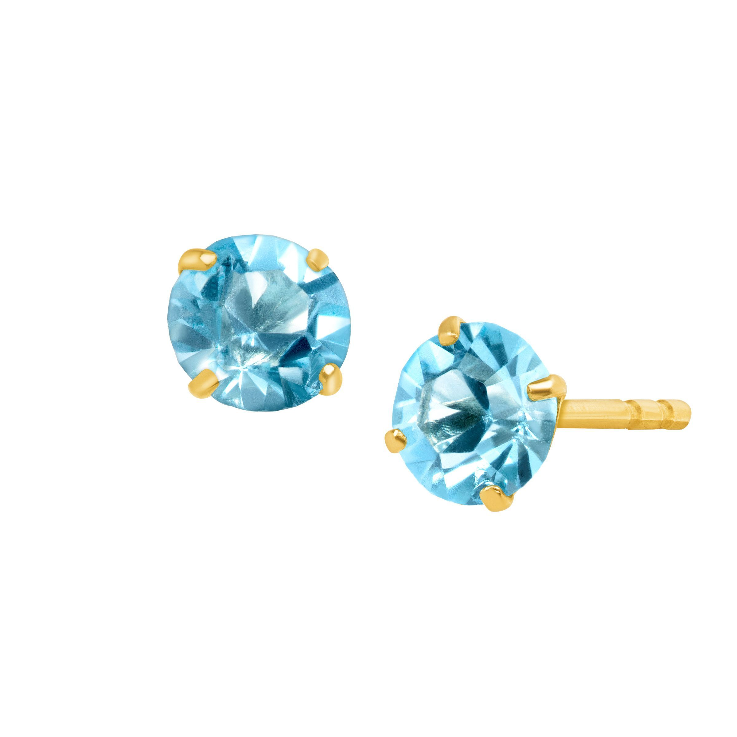 gold rose s lyst le aqua women aquamarine earrings diamond exotics metallic vian stud jewelry marine