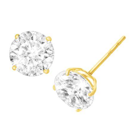 3 Ct Cubic Zirconia Stud Earrings