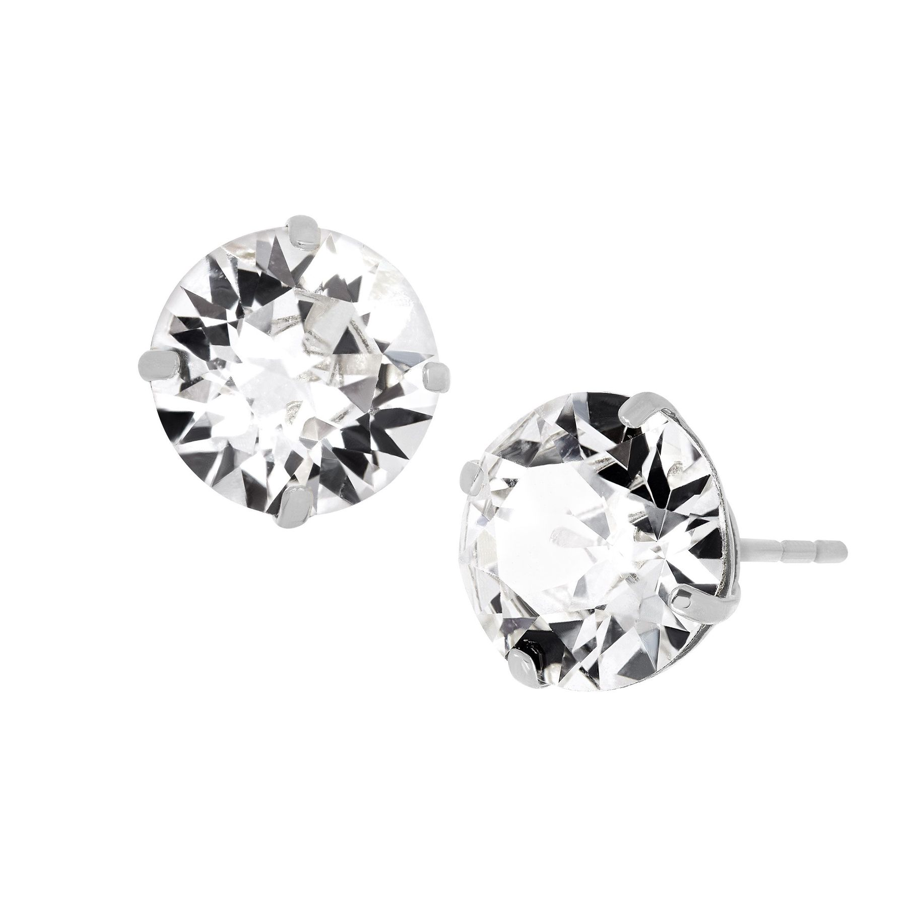 8 Mm Stud Earrings With Swarovski Crystals