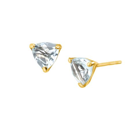 jewelry trillion gold natural in aquamarine cut earrings stud ct