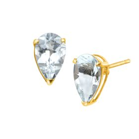 1 1/4 ct Aquamarine Pear-Cut Stud Earrings