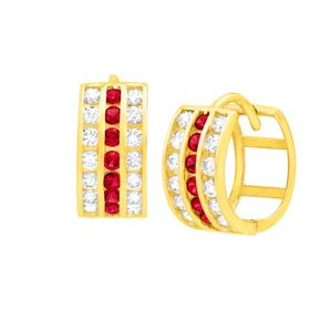 Huggie Hoop Earrings with Red Crystal & Cubic Zirconia