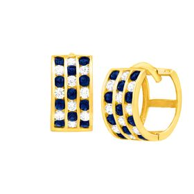 Huggie Hoop Earrings with Blue Crystal & Cubic Zirconia